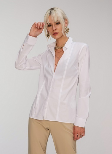 People By Fabrika Nervür Detaylı Basic Gömlek Beyaz
